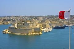 Взгляд грандиозной гавани, Валлетты, Мальты. Стоковые Изображения
