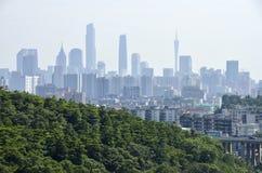 Взгляд Гуанчжоу от горы baiyun Стоковое Изображение