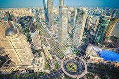 Взгляд глаза птицы центра города Шанхая Стоковые Фото