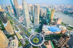 Взгляд глаза птицы Шанхая городской Стоковое Изображение RF