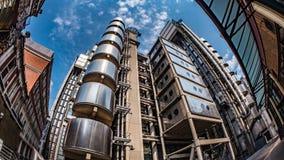 Взгляд глаза рыб зданий в финансовом районе города Лондона Стоковое Изображение