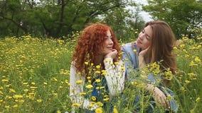 Взгляд девушек на одине другого движение медленное сток-видео