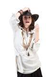 Взгляд девушки в стиле boho изолированном на белой предпосылке Стоковая Фотография