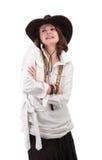 Взгляд девушки в стиле boho изолированном на белой предпосылке Стоковая Фотография RF