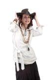 Взгляд девушки в стиле boho изолированном на белой предпосылке Стоковое фото RF