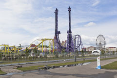 Взгляд езд в парке Сочи с олимпийским парком Стоковое Фото