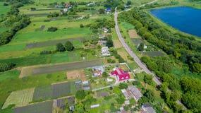 Взгляд деревни центральной России сверху стоковое изображение