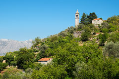 Взгляд деревни Gornji Stoliv, залива Kotor, Черногории Стоковая Фотография RF