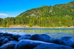 Взгляд лесистой горы и пропуская голубого реки Стоковые Изображения RF