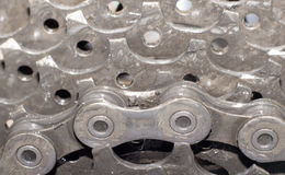 Взгляд детали велосипеда заднего колеса с цепью & цепным колесом Стоковое Изображение