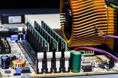 Взгляд детали mainboard компьютера, крупный план Стоковая Фотография RF