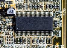 Взгляд детали mainboard компьютера, крупный план Стоковое Изображение RF