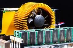 Взгляд детали mainboard компьютера, крупный план Стоковое фото RF