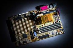 Взгляд детали mainboard компьютера, крупный план Стоковое Фото
