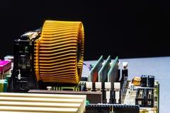 Взгляд детали mainboard компьютера, крупный план Стоковые Фотографии RF