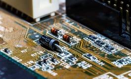 Взгляд детали mainboard компьютера, крупный план Стоковые Изображения