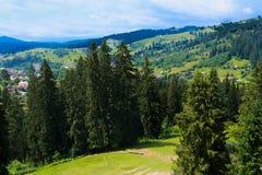 Взгляд лета landscapevillage Vorohta Украины прикарпатских гор Зеленые леса, холмы, травянистые луга и голубое небо Стоковые Фотографии RF