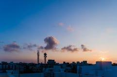 Взгляд захода солнца вечера Стоковое фото RF