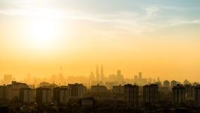Взгляд захода солнца в городском Куалае-Лумпур Стоковая Фотография RF