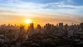 Взгляд захода солнца города Бангкока, Таиланд Стоковые Фотографии RF