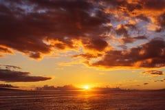 Взгляд захода солнца, Мауи, Гаваи Стоковая Фотография RF