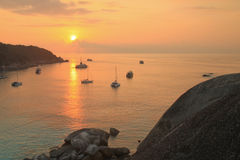 Взгляд захода солнца на острове Similan Стоковые Фотографии RF