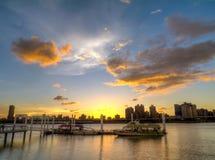 Взгляд захода солнца на порте Dadaocheng Стоковая Фотография RF