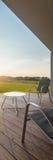 Взгляд захода солнца от современного патио стоковое изображение
