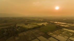 Взгляд захода солнца полей риса Стоковое Изображение RF
