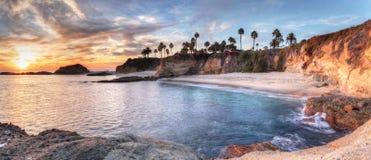 Взгляд захода солнца пляжа острова сокровища Стоковые Фото