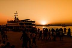 Взгляд захода солнца силуэта bosphorous Стоковые Изображения