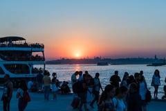 Взгляд захода солнца силуэта bosphorous Стоковое Изображение RF