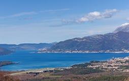 Взгляд залива города Kotor и Tivat Черногория Стоковая Фотография RF