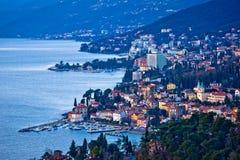 Взгляд залива и береговой линии залива Opatija riviera стоковое фото rf