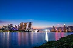 Взгляд залива Марины ориентир ориентира города Сингапура Стоковая Фотография