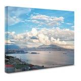 Взгляд залива Неаполь на холсте Стоковая Фотография RF