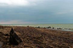 Взгляд залива с песчаным пляжем на пасмурный день Стоковые Фото