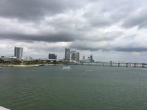 Взгляд залива Biscayne, Майами, Флориды Стоковые Изображения RF
