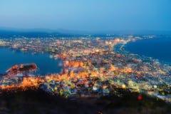 Взгляд залива Hakodate на сумраке Стоковые Изображения RF