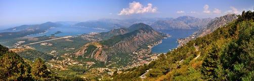 Взгляд залива Kotor в негре Monte Стоковое Изображение