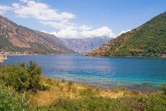 Взгляд залива Kotor - залива замотки Адриатического моря Черногория Стоковое Фото