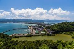 Взгляд залива Tomioka сверху в Amakusa, Kumamoto, Японии Стоковая Фотография