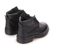 Взгляд задней части ботинка зимы черный Стоковые Фото