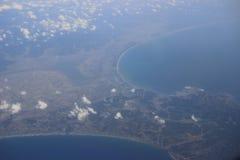 Взгляд земли, полей, и облаков сверху Стоковое фото RF