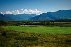 Взгляд зеленого поля и реки в горах Стоковые Изображения RF