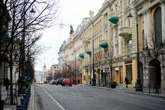 Взгляд зимы времени позднего утра города Вильнюса Стоковые Фотографии RF