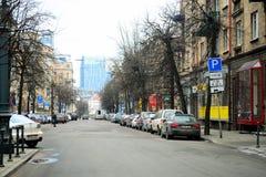 Взгляд зимы времени позднего утра города Вильнюса Стоковое Фото