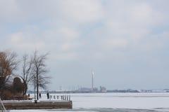 Взгляд зимы фронта озера Онтарио, Торонто, Канады Стоковые Фото