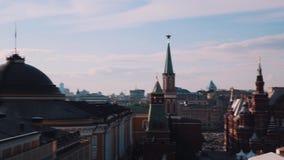 Взгляд зданий красной площади Кремля живописный панорамный Москвы акции видеоматериалы