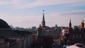 Взгляд зданий красной площади Кремля красивый панорамный Москвы видеоматериал